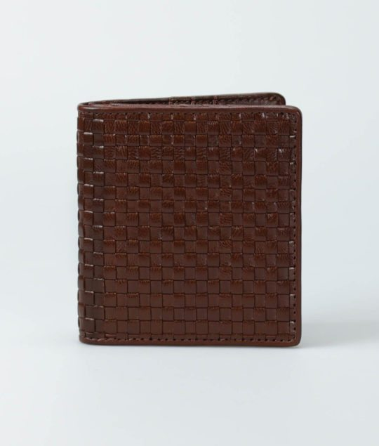 Bifold Vertical Woven Leather Wallet