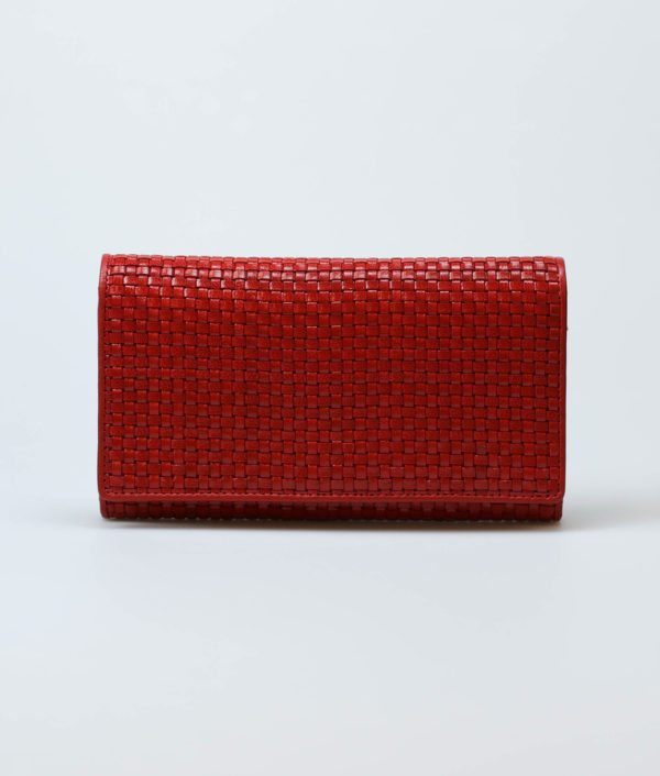 red-women-classic-weave-long-trifold-wallet-orimono-tresse-1
