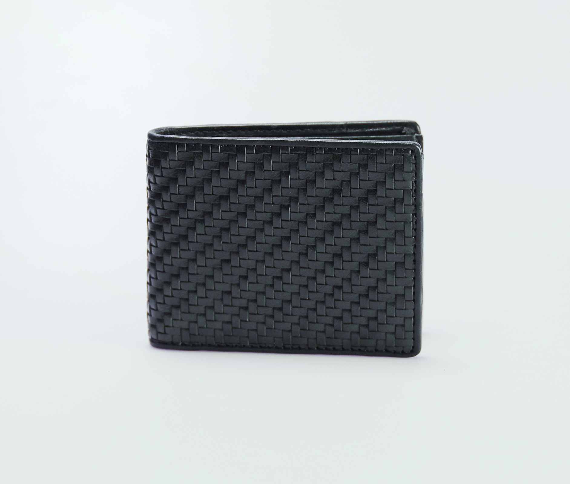 Mens Bifold Horizontal Weave Leather Wallet