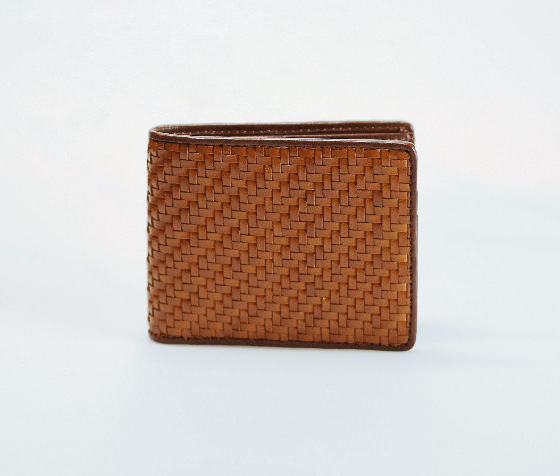 Mens Bifold Woven Leather Wallet