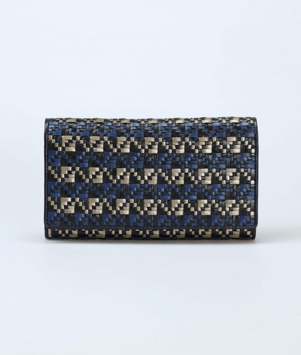 blue-tricolor-women-tribal-weave-long-trifold-wallet-orimono-tresse-1