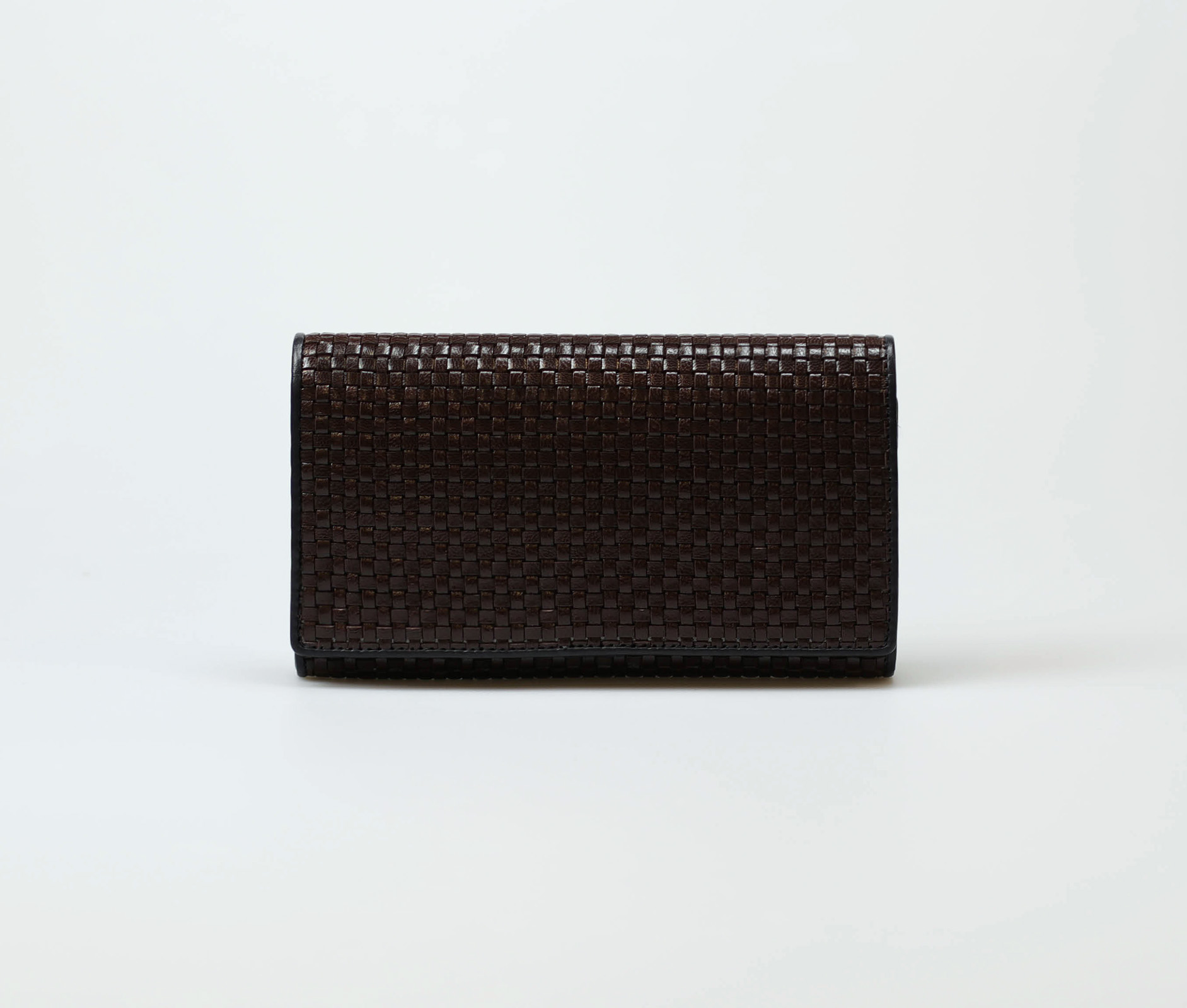 brown-women-classic-weave-long-trifold-wallet-orimono-tresse-1